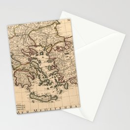 Map Of Greece 1707 Stationery Cards
