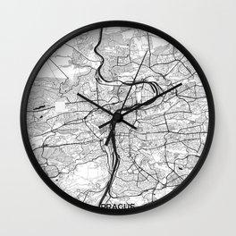 Prague Map Gray Wall Clock