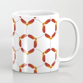 Red Japanese Maple Tree Samara Rounded Hex Pattern Coffee Mug