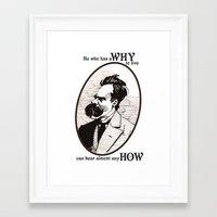 nietzsche Framed Art Prints featuring Nietzsche by Scott Davidson
