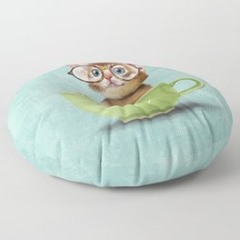 Kitten with glasses Floor Pillow