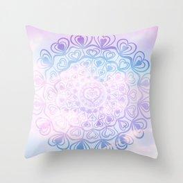 Heart Mandala on Unicorn Pastel Clouds #1 #decor #art #society6 Throw Pillow