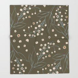 Lily of the Valley_olive Throw Blanket