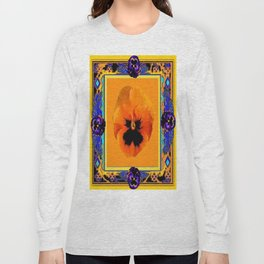 Orange Pansy in Blue, Purple, & Black Abstract Long Sleeve T-shirt