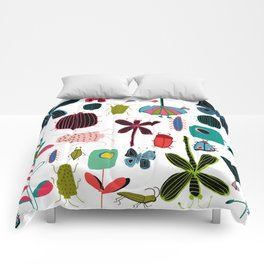 Insect watercolor white Comforters
