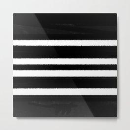 Black & White Stripe Metal Print
