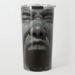 LISTEN - white and gray colored pencil on black Travel Mug
