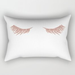 Pretty Lashes Rose Gold Glitter Pink Rectangular Pillow