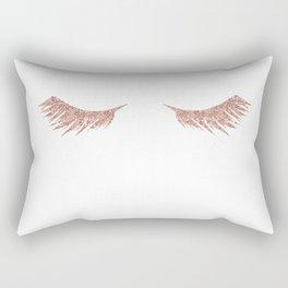 Pretty Lashes Rose Gold Glitter Pink Rectangular Pillow