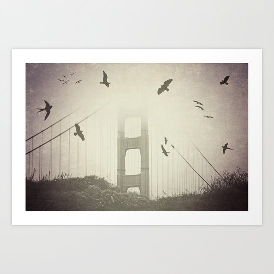 Birds Over the Bridge Art Print