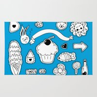 sticker Area & Throw Rugs featuring Sticker World by Duru Eksioglu