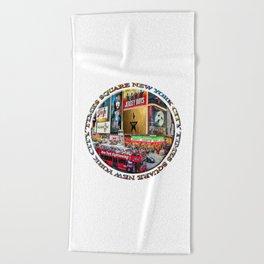 Times Square New York City (badge emblem on white) Beach Towel
