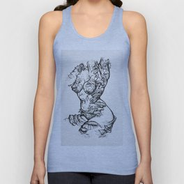 Floral Shroom Torso Pt 2 ink on white Unisex Tank Top