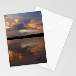 Sunset at the lake after the storm. Stationery Cards