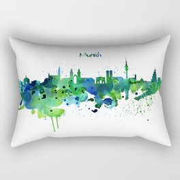 Munich Skyline Silhouette Rectangular Pillow