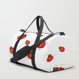 ABSTRACT RED LADY BUGS CRAWLING ON WHITE COLOR Duffle Bag