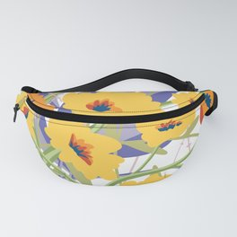 Summer Blooms in Orange and yellow, illustration, graphic art. Fanny Pack