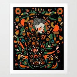 Black Velvet and Clementine Art Print