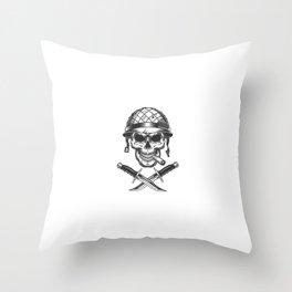 Vintage Monochrome Soldier Skull Smoking Cigar Throw Pillow