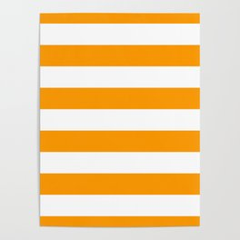 Bright Mango Mojito and White Wide Horizontal Cabana Tent Stripe Poster