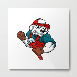 dog plumber holding a big wrench Metal Print