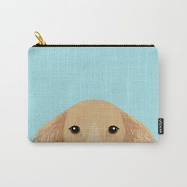 Long Haired Dachshund cream coat cute pet portraits custom dog breed art Carry-All Pouch
