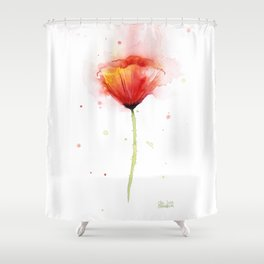 Red Poppy Flower Watercolor Abstract Poppies Floral Shower Curtain