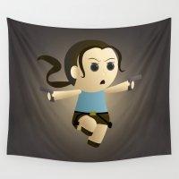 lara croft Wall Tapestries featuring Geek Babies: Lara by Deanna Marie: Art & Design