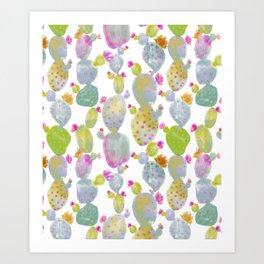 Blooming Spring Cacti Art Print