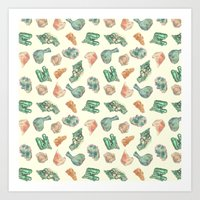 minerals Art Prints featuring Myriad Minerals by Portable City Illustration