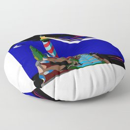A Night at the Lighthouse with Search Light Active Floor Pillow
