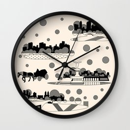 central park snow Wall Clock