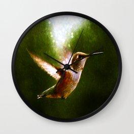 Moonlit Iridescence Hummingbird Wall Clock