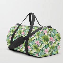 Pink green watercolor flamingo tropical monster leaves Duffle Bag