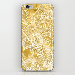 Modern lemon curry watercolor floral hand drawn pattern iPhone Skin