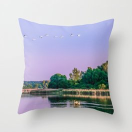 Swans are flying Throw Pillow