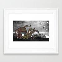 kraken Framed Art Prints featuring Kraken  by Dániel Marton