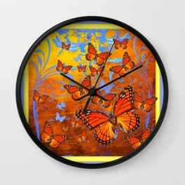 Caramel Browns & Pale Blue  Monarch  Butterflies with Yellow Wall Clock