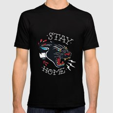 Stay Home Panther Tattoo MEDIUM Black Mens Fitted Tee