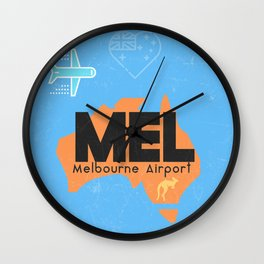 MEL Melbourne airport code Wall Clock