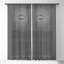 Circus starburst Black Background Sheer Curtain