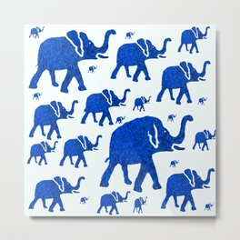 ELEPHANT BLUE MARCH Metal Print