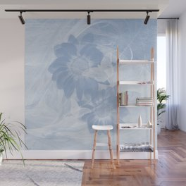 Delicate white butterflies and denim blue flowers in abstract fractal Wall Mural