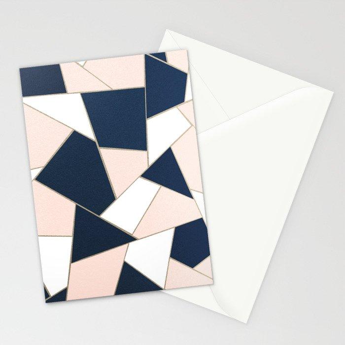 Navy Blue Blush White Gold Geometric Glam #1 #geo #decor #art #society6 Stationery Cards