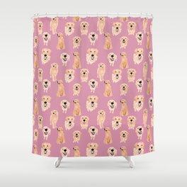 Golden Retrievers on Pink Shower Curtain