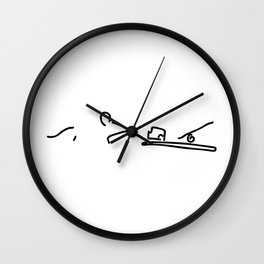 mouse before mousetrap with cheese Wall Clock