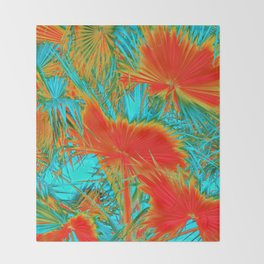 closeup palm leaf texture abstract background in orange blue green Throw Blanket