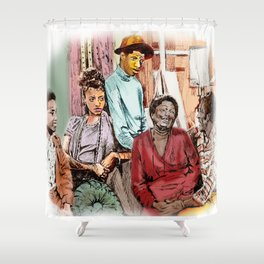 GOOD TIMES (pen sketch tribute to a classic sitcom) Shower Curtain
