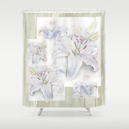 Lilies On Vintage Shower Curtain