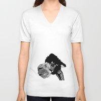 alpaca V-neck T-shirts featuring Alpaca by caseysplace